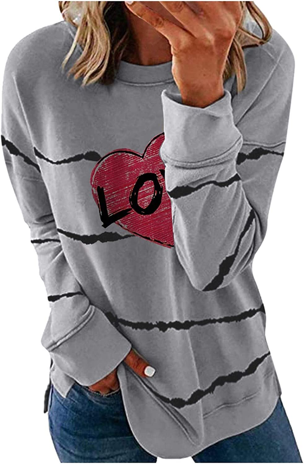 Oversized Sweatshirt for Women, Crew Neck Long Sleeve Hearts Print Casual Blouse Pullover Plus Size Tunic Tops