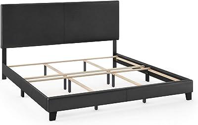 FURINNO Pessac PU Leather Upholstered Platform, King, Black