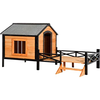 """PawHut 67"""" Large Wooden Cabin Style Elevated Outdoor Dog House with Porch"""