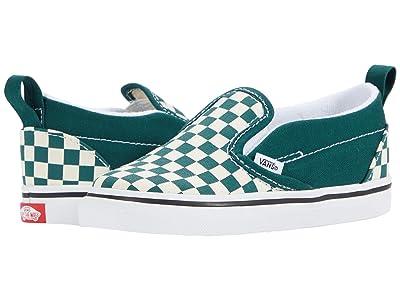 Vans Kids Slip-On V (Infant/Toddler) ((Checkerboard) Bistro Green/True White) Kids Shoes