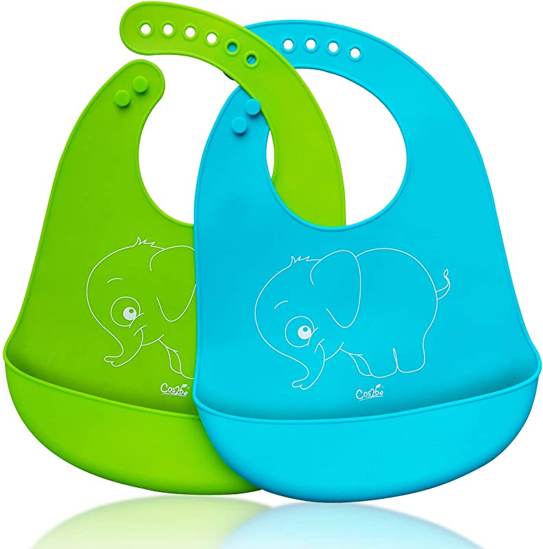 Cos2be Waterproof Soft Silicone Bibs Easily Wipes Clean Adjustable Snaps Baby Bibs For Babies Or Toddlers Pack Of 2