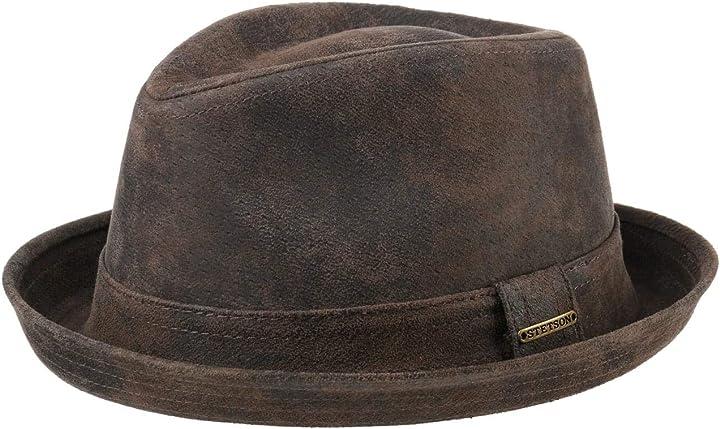 Cappello trilby fedora con fodera, fascia estate/inverno stetson radcliff player in pelle uomo 1187101