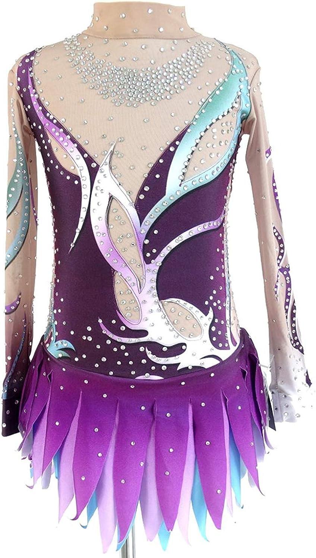 Eiskunstlauf Kleid für Frauen, Handarbeit Rollschuhkleid Kunstturnen Wettbewerb Kostüm Professionel langärmelige Lila B07FSNMKSV  Verwendet in der Haltbarkeit