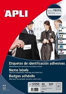 Apli 012252 20 Badge Textile Adhésif, 63,5 x 29,6mm, Blanc