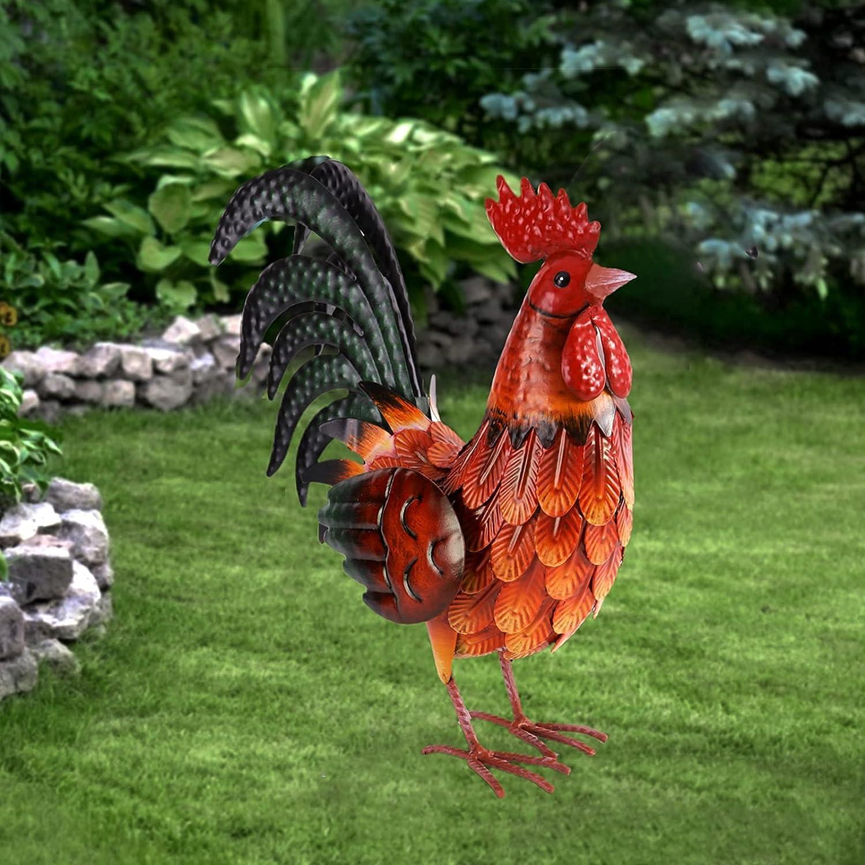 Metal Rooster Decor Garden Statue Outdoor Chicken Sculpture Yard Art Kitchen Decor