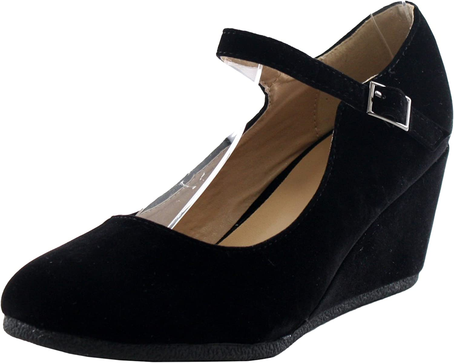 Forever Link Womens Patricia-05 Mary Jane Strap Faux Suede Wedge Pumps,Black Suede,9