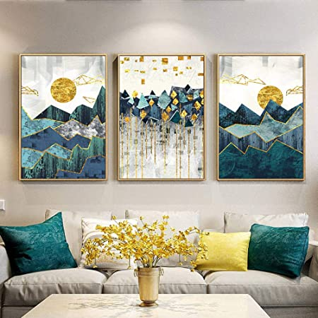 Shinering Nordic Abstract Geometric Mountain Landscape Wall Art Canvas Painting Golden Sun Art Poster Print Wall Picture For Living Room Frameless Amazon Co Uk Kitchen Home
