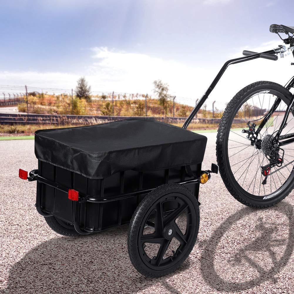 Remolque de bicicleta Remolque de carga con caja de transporte de 70 L Carretilla de mano con barra de tracción alta Remolque de transporte 150x63x93cm, carga útil de 70 kg Negro: Amazon.es: