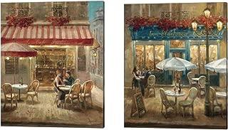 Paris Café by Danhui Nai, 2 Piece Canvas Art Set, 12 X 15 Inches Each, Scenic Art