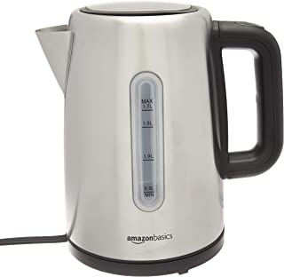 AmazonBasics Stainless Steel Fast, Portable Electric Hot Water Kettle for Tea and Coffee,..