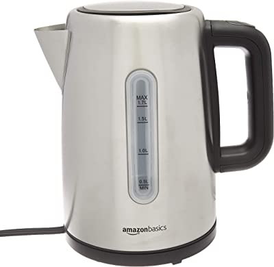 Amazon Basics Stainless Steel Fast, Portable Electric Hot Water Kettle for Tea and Coffee, 1.7-Liter, Silver
