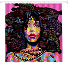 QiyI African Rock Girl Shower Curtain Art Afro Black Women Abstract Watercolor Design Bathroom Accessories Waterproof & Machine Washable with 12 Hooks 72