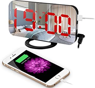 """Eternal Home LED Digital Alarm Clock with Large 6.5"""" Display, Snooze & Memory Function, Diming Mode, Mirror Surface, Dual USB Charging Ports for Bedroom, Living Room, Office, Travel, Red"""