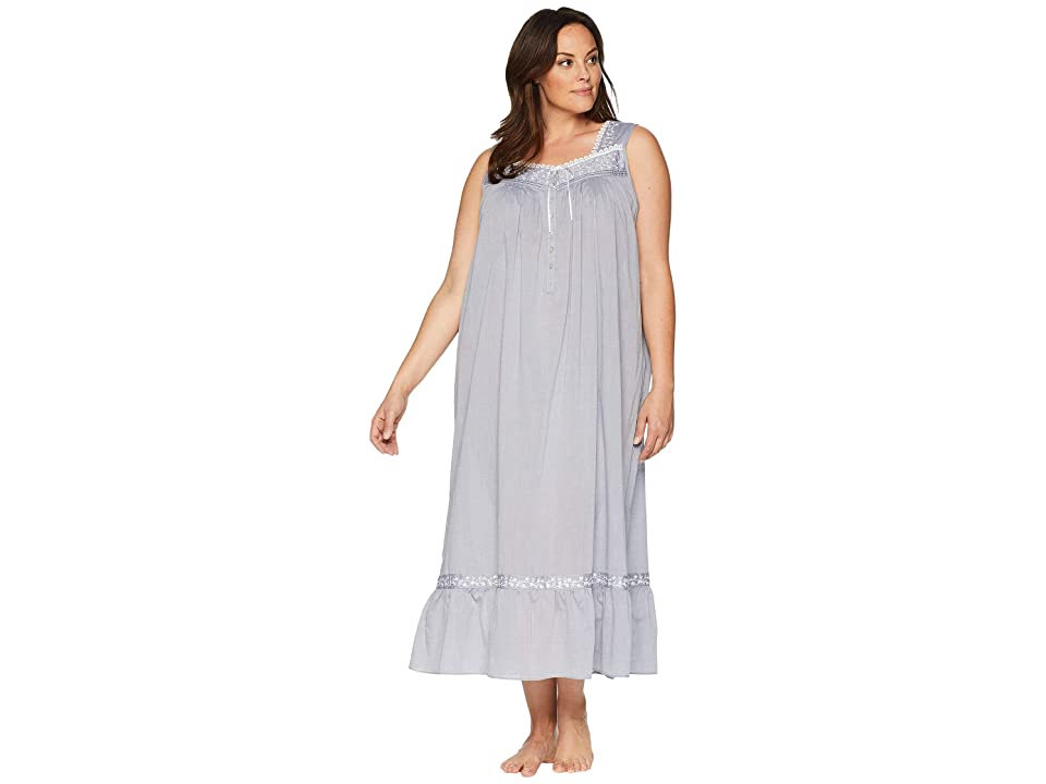 Eileen West Plus Size Chambray Ballet Nightgown (Charcoal) Women
