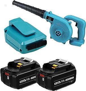 【Amazon限定ブランド】Reoben互換ブロワ マキタ 18 バッテリー用 コードレスブロワー 電動工具 充電式 コードレス 一台二役 集じん機能付き 集塵 掃除機合わせて4点セット 【青 ブロワー】