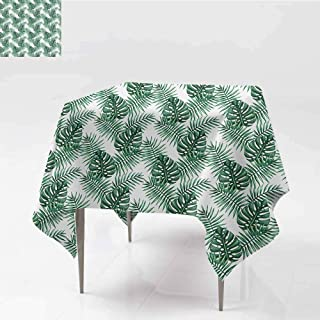 Easy Care Tablecloth Leaf Palm Mango Banana Tree Leaves in Tropical Wild Safari Island Jungle Image Artwork Forest Green for Kitchen Dinning Tabletop Decoration W60 xL65