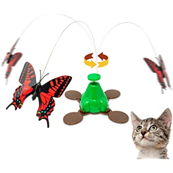 Pet Zone Fly By Spinner Butterfly Cat Toy, Lifelike Flying Movement & Realistic Fluttering Sound (Interactive Cat Toys, Kitten Toy, Cat Toys for Indoor Cats)[Great Alternative to Pop and Play Cat Toy]