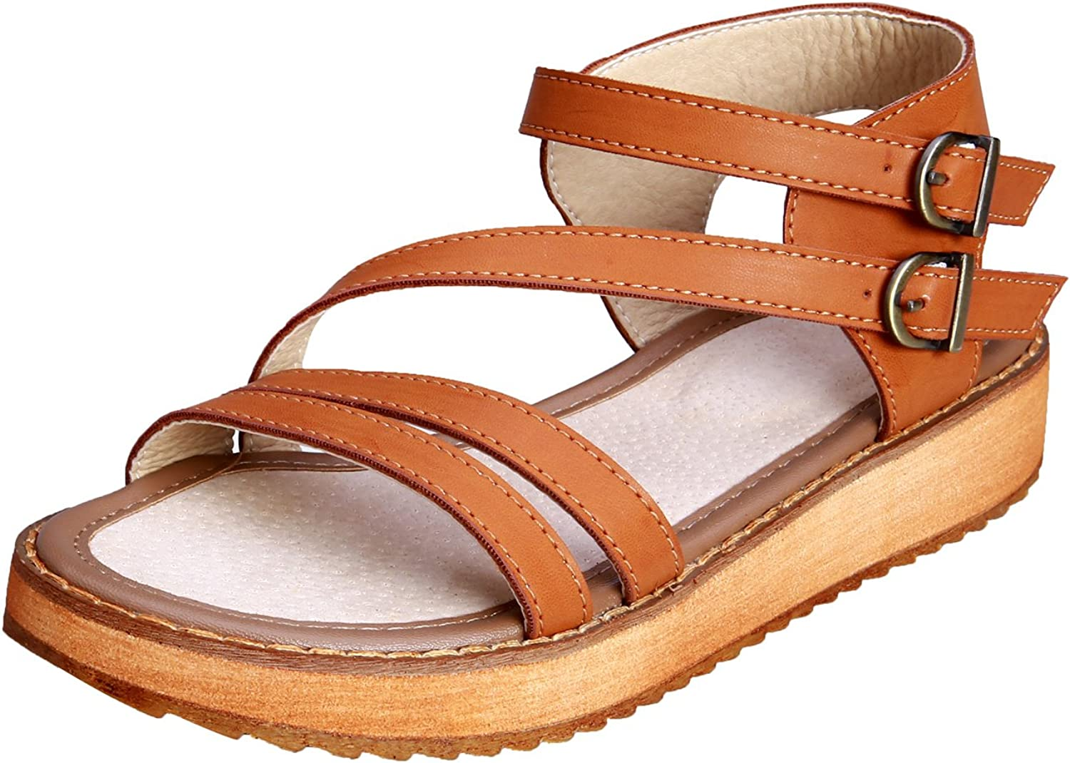 Smilun Lady's Roman Sandal shoes Open Toe Double Toe Strap Cross Strappy Gladiator Wedge Sandals