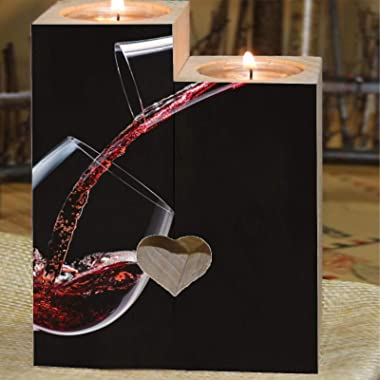 Romantic Tea Light Candle Holders Decorative Red Wine is Poured into a Wine Glass on Black Personalized Wood Tealight Candle