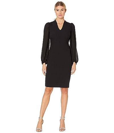 Vince Camuto Kors Crepe Bodycon Dress w/ Chiffon Combo at Back and Sleeve (Black) Women