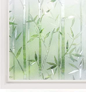Rabbitgoo Window Film 3D Decorative Glass Film, No Glue Privacy Frosted Film for Home Office, Anti-UV Window Sticker, Reusable Static Cling Window Decals, Bamboo Pattern, 23.6 x 78.7 inches