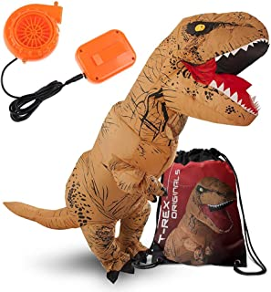 Adult Dinosaur Costume Inflatable T-Rex Brown Suit with Exclusive Red Drawstring Bag