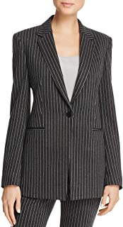Womens Pinstripe Suit Separate One-Button Blazer Gray 6