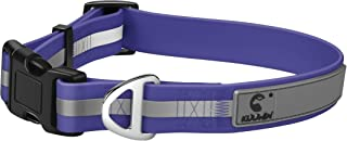 KOOWIN Personalized Waterproof Dog Collar Coated Ultra Soft Rubber with Reflective Strip, Red for Male Blue for Female, Not Hurt Pet Neck, Adjustable Medium Large Breed