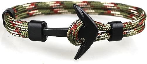 cheeseri 2019 Black Color Anchor Bracelets Men Charm Survival Rope Chain Paracord Bracelet Male Wrap Metal Sport Hooks