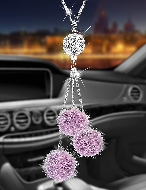 Alotex Bling Car Accessories for Women & Men Bling White Ball Purple Fuzzy Drops Rinestones Diamond Car Accessories Crystal Car Rear View Mirror Charms,Lucky Interior Accessories White Ball-Purple