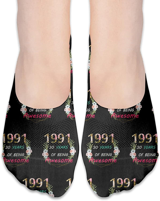 80th Bday Party 1991 - 30th Women'S Birthday Gift No Show Socks Adult Short Socks Athletic Casual Crew Socks