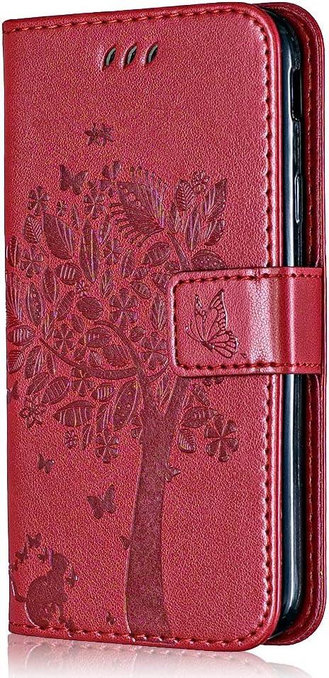 Conber Funda para Nokia 1 Plus, Funda de PU Cuero Cartera con Tapa, Serie Gato y Arbol Flip Cierre Protectora Carcasa Libro para Nokia 1 Plus - Rojo