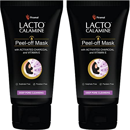 Lacto Calamine Face Peel Off Mask with Activated Charcoal & Vitamin E for Deep Pore Cleansing, Removing Black & Whiteheads & Fresh Glowing Skin, No Parabens/Sulphates, 120 g, Pack of 2