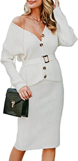 Miessial Women's Knitted V Neck Bodycon Midi Dress Elegant Two Peice Sweater Dresses