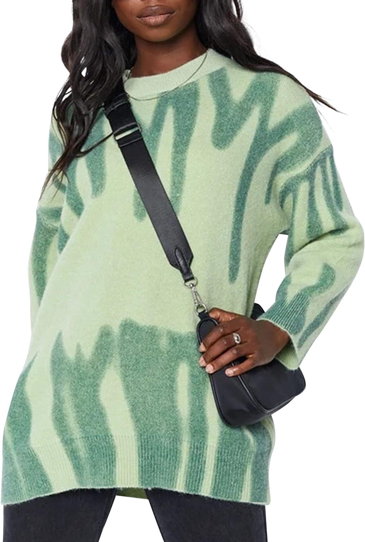 SAFRISIOR Women Y2K Tie Dye Oversized Knit Pullover Sweater Long Sleeve Loose 90s Jumper Sweatshirt Knitwear Top