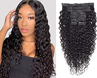 Apeasex Curly Hair Clip in Extensions Human Hair Brazilian Remy Curly Hair Clip ins Natural Black Color for African American Women 8Pcs/lot 120g/set (18 inch)