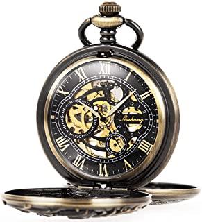 ManChDa Mens Antique Skeleton Mechanical Pocket Watch Dragon Hollow Hunter with Chain and Gift Box