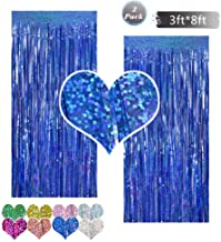 Tinsel Fringe Foil Curtain Backdrop Metallic 2 Packs 3ftx8ft Laser Party Backdrop Curtain,CYLMFC Rain Curtain for Birthday Party Decorations Photo Booth Backdrop Christmas Halloween - Deep Blue
