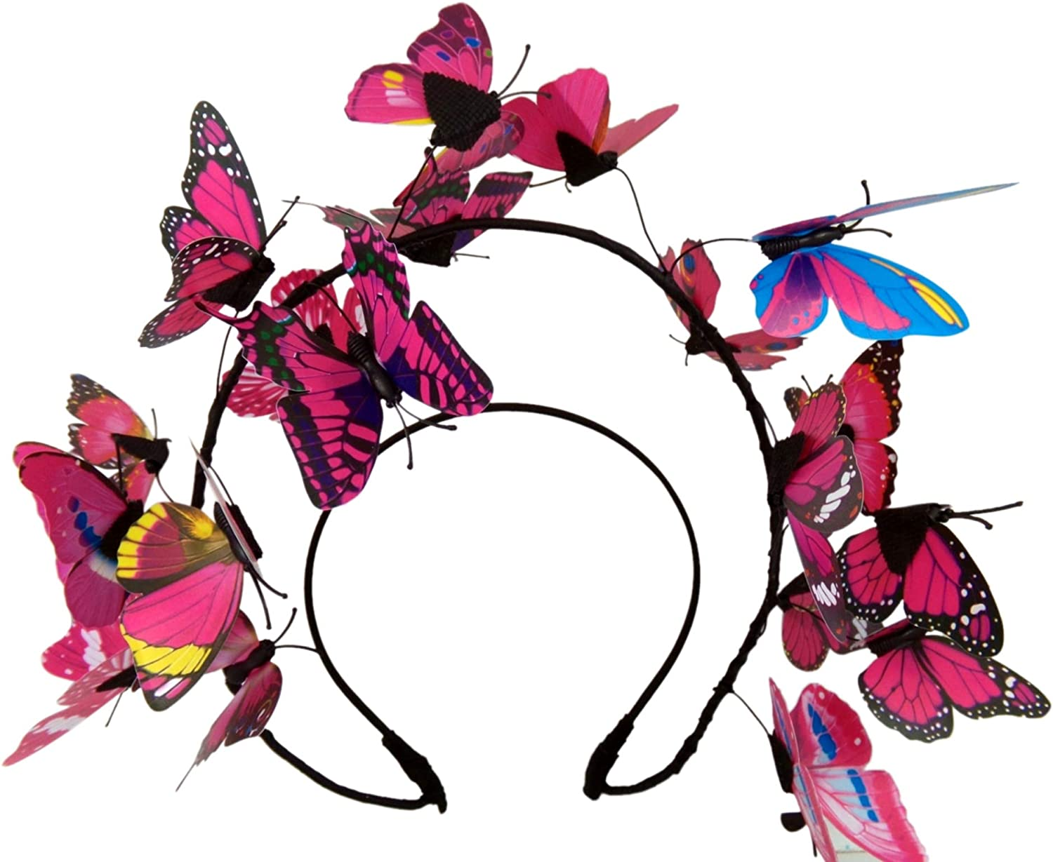 Butterfly Headband for Women Fascinator Crown Halloween Festival Costume Accessory Headpiece, One Size Fits Most