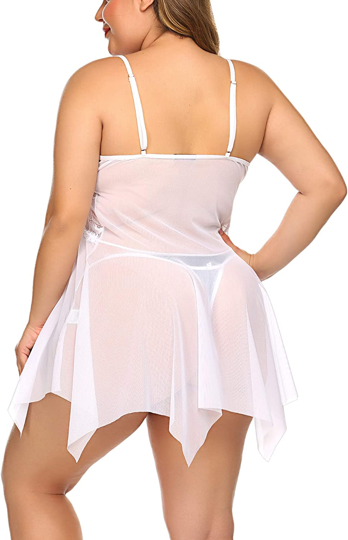 Avidlove Plus Size Lingerie Babydoll Chemise Lace Sleepwear Boudoir Outfit