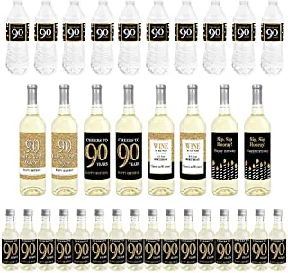 Big Dot of Happiness Adult 90th Birthday - Gold - Mini Wine Bottle Labels, Wine Bottle Labels and Water Bottle Labels - Birthday Party Decorations - Beverage Bar Kit - 34 Pieces