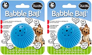 PetQwerks Talking Babble Ball Toy for Dogs and Cats, Small - 2 Pack