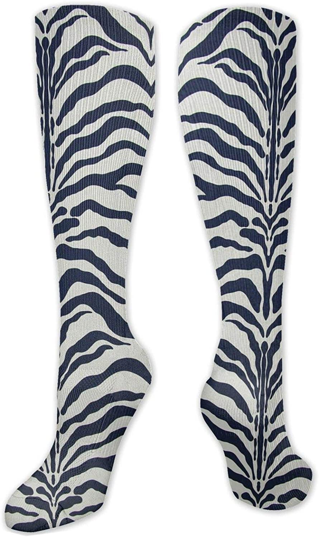 Zebra Stripes Pattern Knee High Socks Leg Warmer Dresses Long Boot Stockings For Womens Cosplay Daily Wear