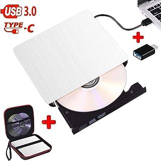 Lecteur CD/DVD Externe USB 3.0 et Type-C, Graveur DVD Externe Portable Ultra Slim,..