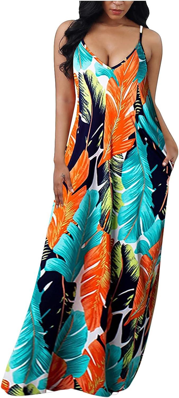 Women Summer Boho Maxi Dresses, Spaghetti Strap Long Casual Plus Size Vintage Floral Beach Hawaii Luau Maxi Swing Dress