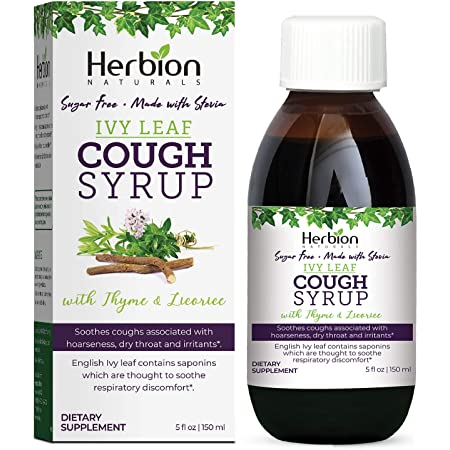 Herbion Naturals, Ivy Leaf Syrup with Thyme and Licorice Helps Maintain Respiratory and Bronchial Health Supports Healthy Mucous Membranes Effective for Adults and Children, White, 5.1 Fl Oz