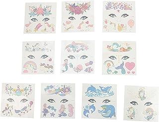 Beaupretty 10Pcs Cartoon Tijdelijke Tattoos Kinderen Facial Stickers Eenhoorn Partij Tattoos Decals Voor Prestaties Verjaa...