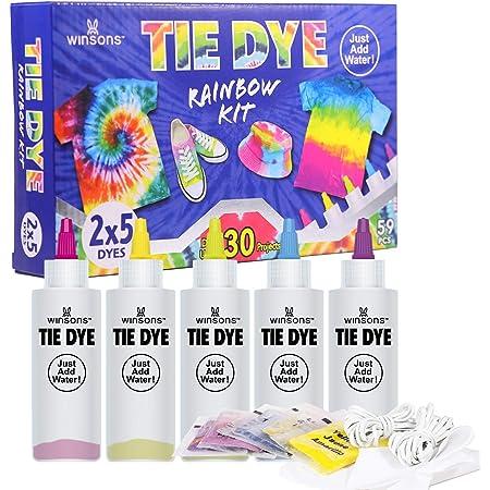 WINSONS Tie Dye Kit, 5 Colores de Tinte de Tela Permanente no tóxico Set de Arte para niños Mujeres para la Fiesta casera Actividades de Grupo ...
