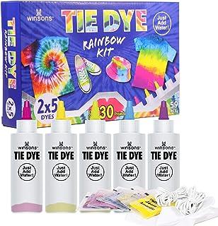 WINSONS 5 Couleurs Tie Dye Kit, Kit Tie-Dye Peinture Textile Teinture Permanente Art & Crafts pour Enfants Adultes et Bric...