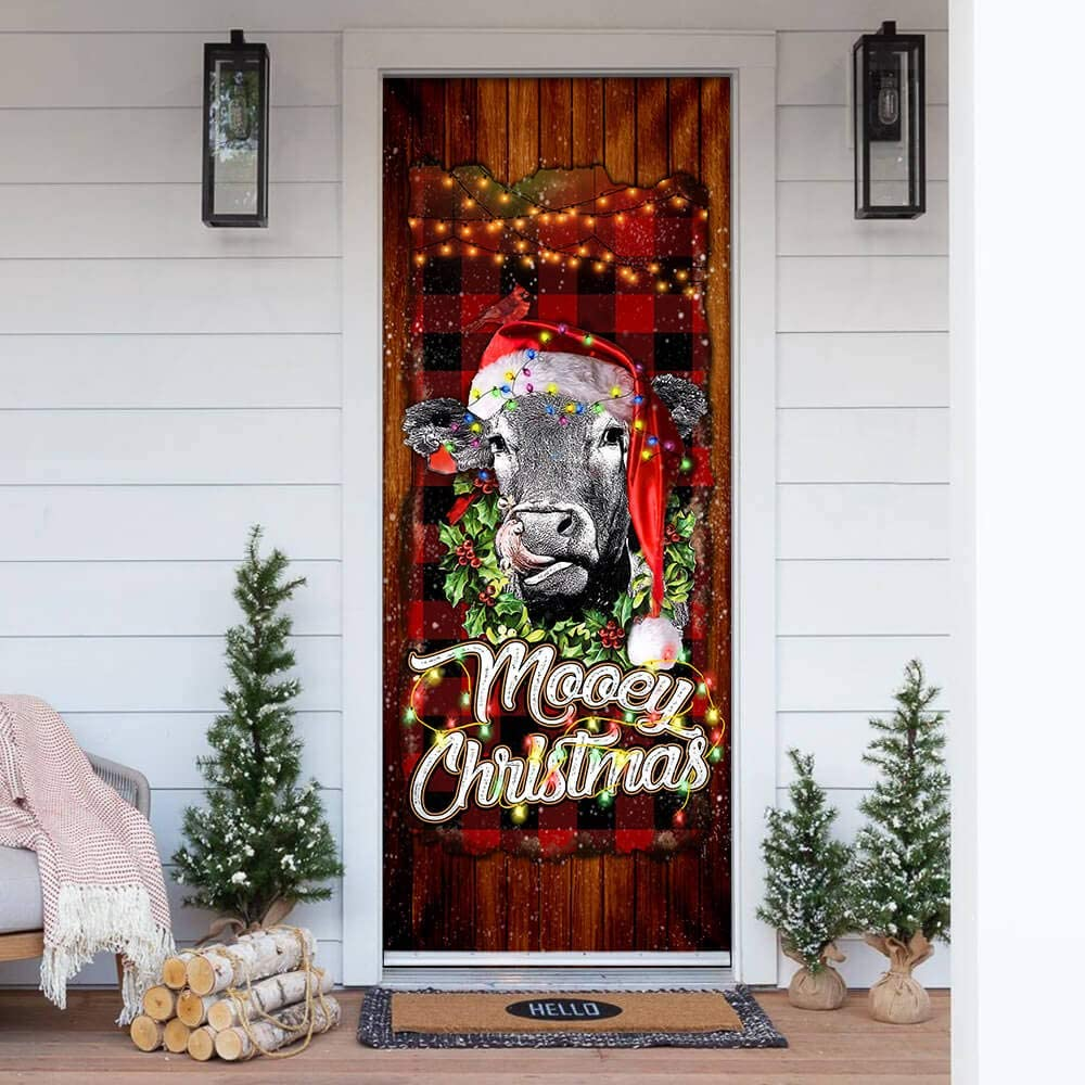 FLAGWIX Popular brand in the world Door Covers Printed-Mooey Excellence Cow Christmas Cover Angus